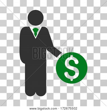 Banker icon. Vector illustration style is flat iconic bicolor symbol green and gray colors transparent background. Designed for web and software interfaces.