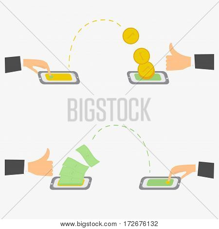Users send and receive money to each other with their wireless mobile phones Hand pressing smartphone with the application vector