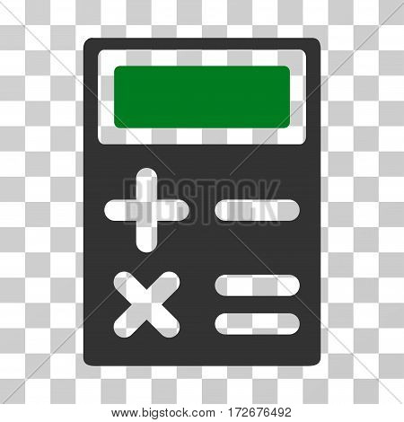 Calculator icon. Vector illustration style is flat iconic bicolor symbol green and gray colors transparent background. Designed for web and software interfaces.