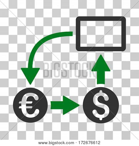 Cashflow Euro Exchange icon. Vector illustration style is flat iconic bicolor symbol green and gray colors transparent background. Designed for web and software interfaces.