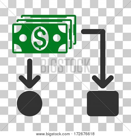 Cashflow icon. Vector illustration style is flat iconic bicolor symbol green and gray colors transparent background. Designed for web and software interfaces.