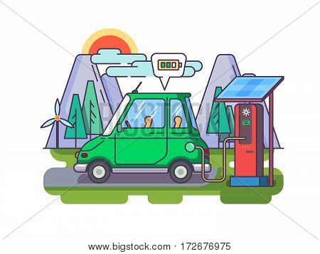 Ecological modern car charged by electric charge. Vector flat illustration