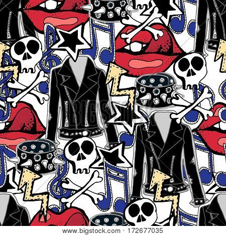 Vector seamless pattern. Rock n roll accessories music drums guitars skulls lips stars jackets.