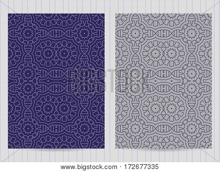 5X7 Inch Size Cards Decorated With Mandala In Blue Color. Vector Template In Eastern, Oriental Style