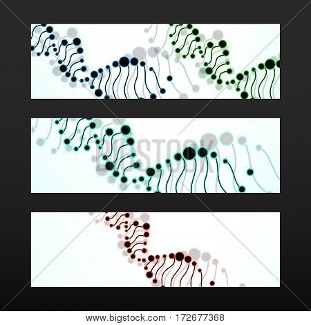 Banner with DNA spiral. Molecule structure. Abstract background