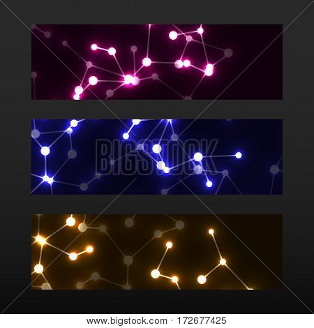 Banner with DNA. Molecule structure glowing background