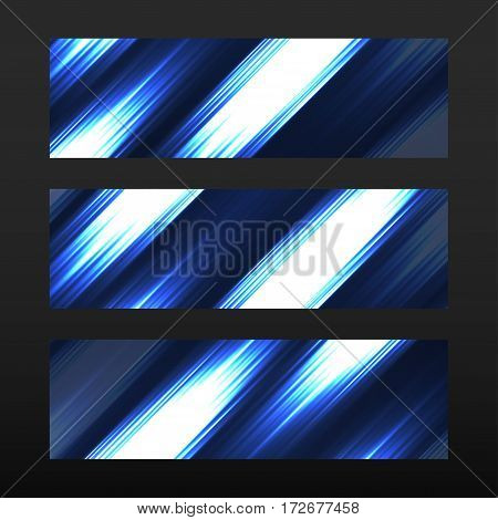 Banner with glowing lines neon stripes. Abstract background