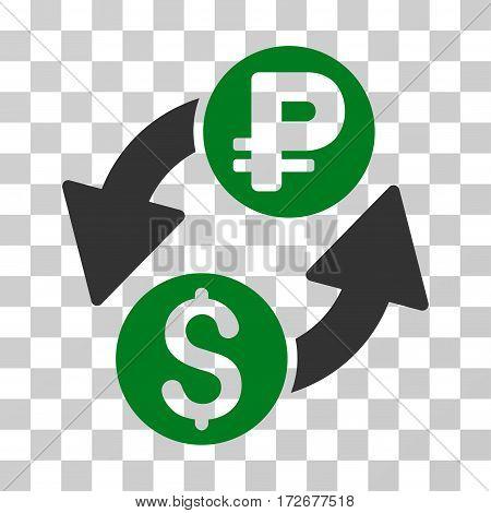 Dollar Rouble Exchange icon. Vector illustration style is flat iconic bicolor symbol green and gray colors transparent background. Designed for web and software interfaces.