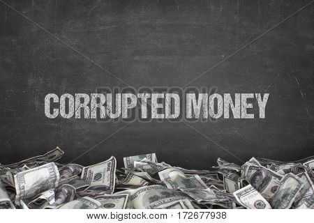 Corrupted money text on black background with dollar pile