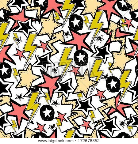 Vector seamless pattern. Rock n roll accessories music stars.
