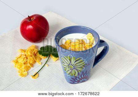 Yogurt With Corn Flakes, Red Apple And Leaf Geranium