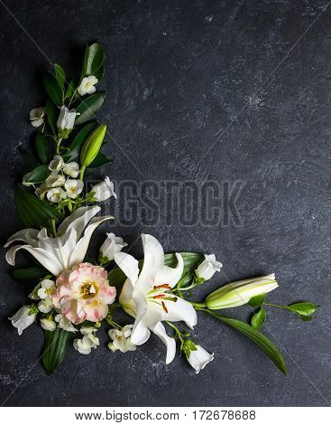 Festive flower composition on the black background.