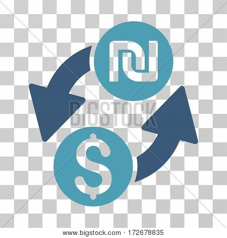 Dollar Shekel Exchange icon. Vector illustration style is flat iconic bicolor symbol cyan and blue colors transparent background. Designed for web and software interfaces.