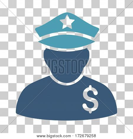 Financial Policeman icon. Vector illustration style is flat iconic bicolor symbol cyan and blue colors transparent background. Designed for web and software interfaces.