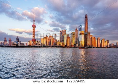 Shanghai skyline with huangpu river in China.
