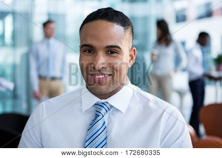 Portrait of smiling businessman in office