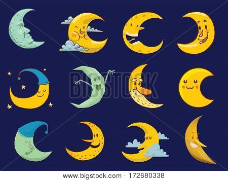 Different moon nature cosmos cycle satellite surface. Whole cycle from new moon month to full surface star astrology sphere. illustration moon month astronomy space lunar.
