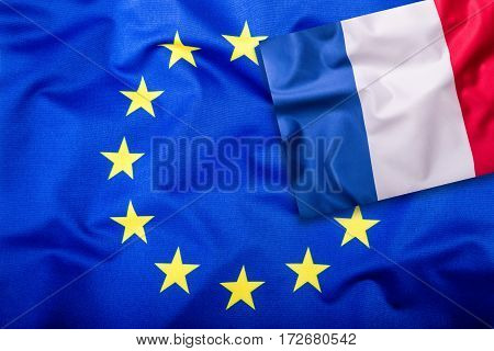 Flags of the france and the European Union. France Flag and EU Flag. Flag inside stars. World flag concept.