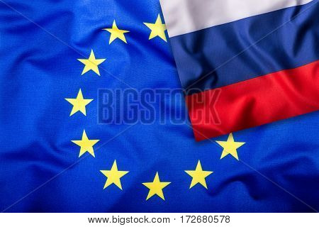 Flags of the Russia and the European Union. Russia Flag and EU Flag. Flag inside stars. World flag concept.