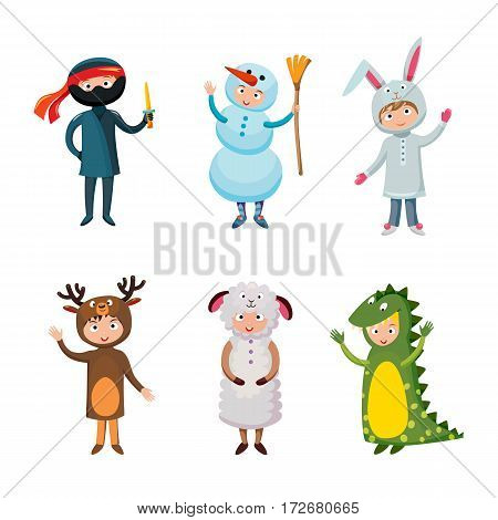 Kids different costumes isolated vector illustration. Dragon crocodile, sheep and deer. Snowman, ninja rabbit. Children party funny clothes. Playful character spooky baby superhero.