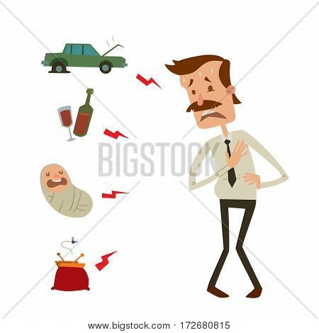 Businessman heart risk factors man heart attack stress infarct vector illustration smoking drinking alcohol fast food harmful depression dizziness health problems