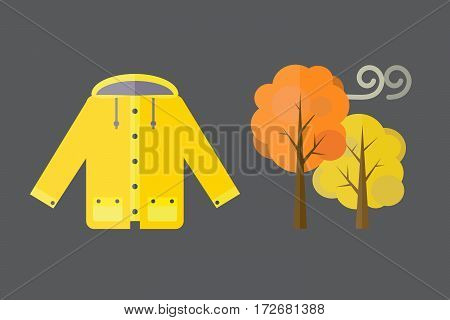 collection of autumn clothes items the fall Acorns, leaves trees autumn, rain clouds. Bad autumn cold weather clothes. Red, yellow colors vector illustration set umbrella