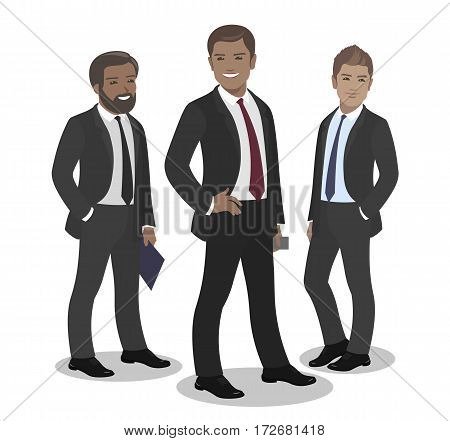 Business team of employees and the boss international group vector illustration fame, success