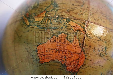 Australian scene of the old terrestrial globe
