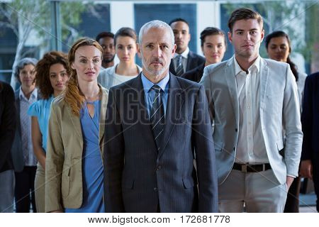 Portrait of businesspeople standing in office