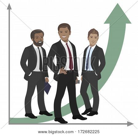 Business team of employees and the boss international group vector illustration fame, success graph