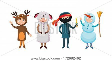 Kids different costumes isolated vector illustration. Dragon, crocodile, sheep and deer. Snowman, bear ninja rabbit and fox pirate. Children party funny clothes.