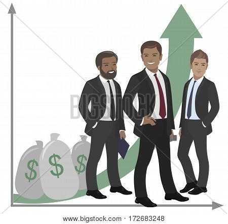 Business team of employees and the boss international group vector illustration fame, success graph money, dollar