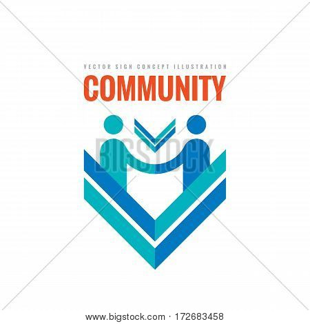Community partnership - vector business logo template concept illustration. Businessman handshake creative sign in minimal design style. Teamwork icon.