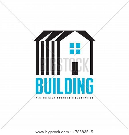 House building - vector logo concept illustration for presentation, booklet, website and other creative projects. Real estate. Design element.