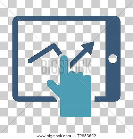 Tap Trend On PDA icon. Vector illustration style is flat iconic bicolor symbol cyan and blue colors transparent background. Designed for web and software interfaces.
