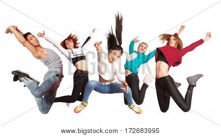 Young modern dancing group practice dancing isolated on white