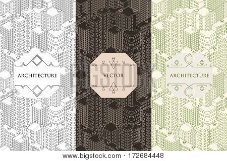 Vertical banners architecture. Seamless pattern isometric flat style. City buildings template. Label. Vector illustration.