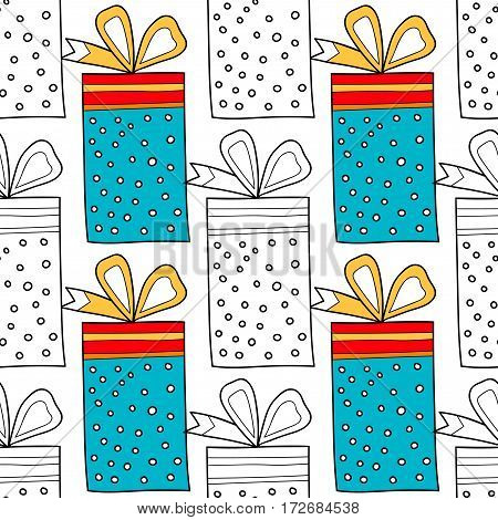 Seamless patterns with gift boxes for coloring book, page. Festive background