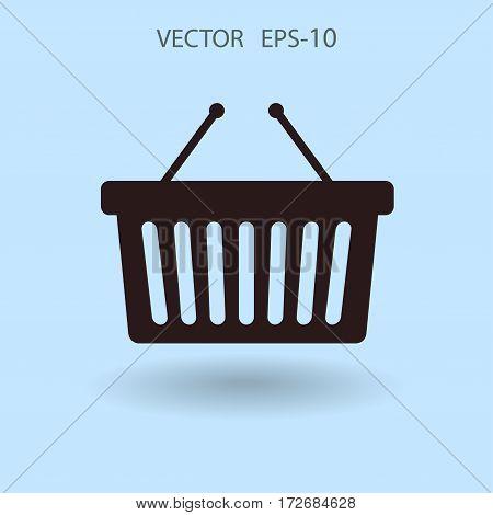 Flat  icon of shopping basket. vector illustration