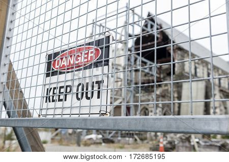 Christchurch, New Zealand - February 2016: Keep Out Sign In Front Of Badly Damaged Christchurch Cath