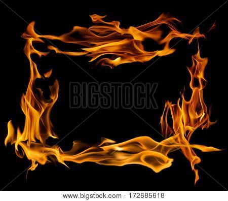 yellow flame frame isolated on black background