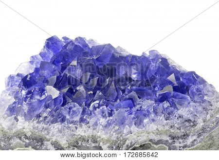 macro photo of blue sapphire druse isolated on white background