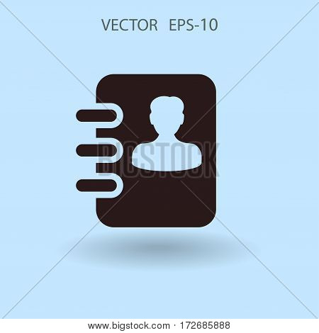 Flat icon of  contacts book. vector illustration