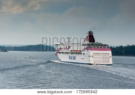 Stockholm,sweden-october 26:silja Line Ferry Float On Fjords Of The Baltic Sea , Sweden October 26 2