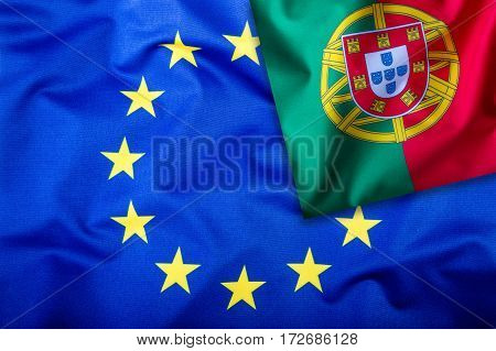 Flags of the Portugal and the European Union. Portugal Flag and EU Flag. Flag inside stars. World flag concept.