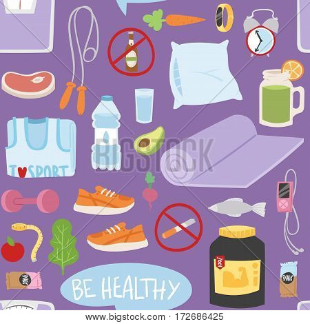 Seamless pattern with healthy lifestyle daily eating icons and sport sneakers lifestyle fitness food positive fit weight background vector illustration. Jump rope and fitness bracelet.