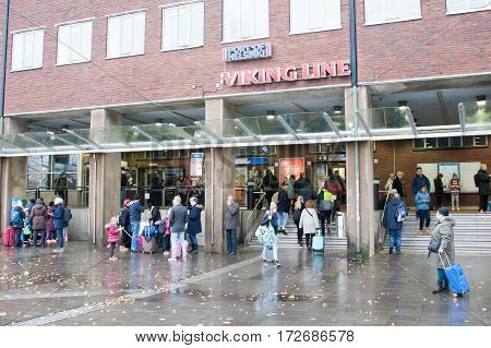 Helsinki, Finland - October 27 : Terminal Facility Of The Ferry Company Viking Line In Helsinkii , F