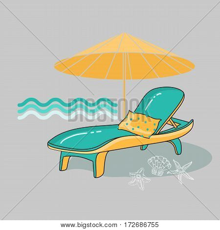 Vector summer cartoon illustration of beach, lounge chair on grey. Travel background with recliner, umbrella, shell and sea star.