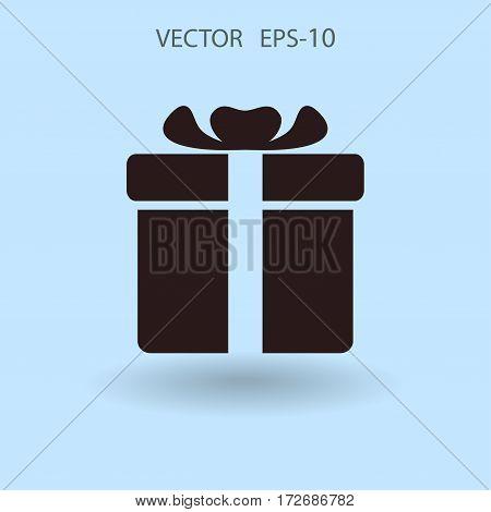 Flat long shadow Gift box icon, vector illustration