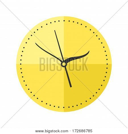 Wall clock circle sign with chronometer pointer and deadline stopwatch speed office alarm timer minute watch vector illustration icon. Time tool and modern round hour meter equipment.